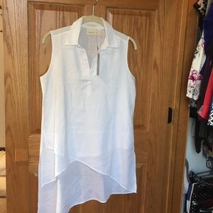 NWT White Asymmetrical Layered Sleeveless Tunic